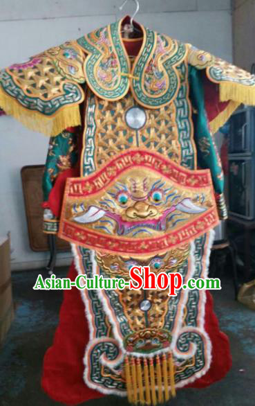 Chinese Beijing Opera General Embroidered Green Clothing Traditional Peking Opera Takefu Costume for Men