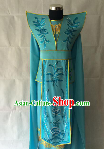 Chinese Beijing Opera Takefu Blue Clothing Traditional Peking Opera Prince Costume for Men
