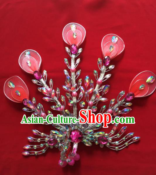 Chinese Beijing Opera Diva Princess Pink Phoenix Hairpins Traditional Peking Opera Hair Accessories for Women