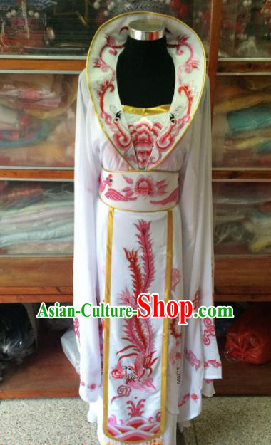 Chinese Beijing Opera Queen White Dress Traditional Peking Opera Empress Costume for Women