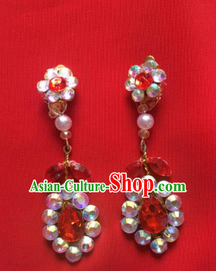 Chinese Beijing Opera Princess Crystal Earrings Traditional Peking Opera Diva Ear Accessories for Women
