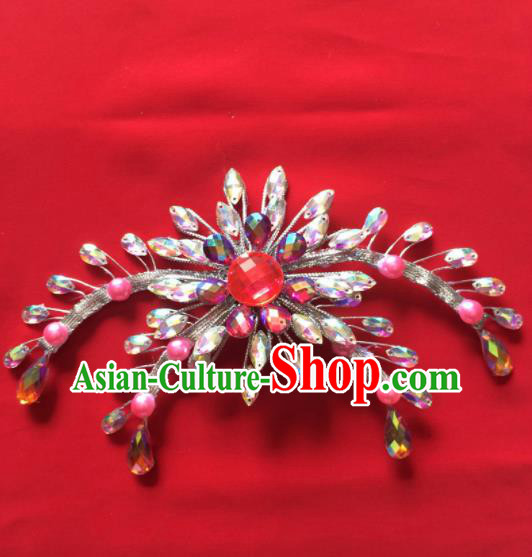 Chinese Beijing Opera Princess Crystal Hair Claw Hairpins Traditional Peking Opera Diva Hair Accessories for Women