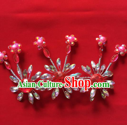 Chinese Beijing Opera Princess Crystal Flowers Hair Claw Hairpins Traditional Peking Opera Diva Hair Accessories for Women
