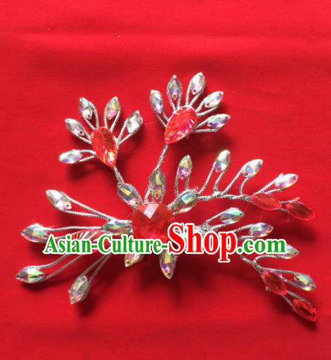 Chinese Beijing Opera Princess Red Crystal Flower Hair Claw Hairpins Traditional Peking Opera Diva Hair Accessories for Women