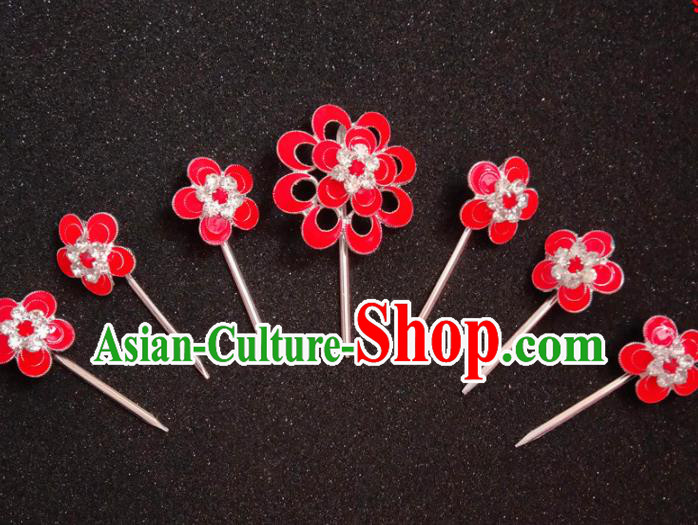 Chinese Ancient Princess Red Plum Hairpins Traditional Peking Opera Actress Hair Accessories for Women