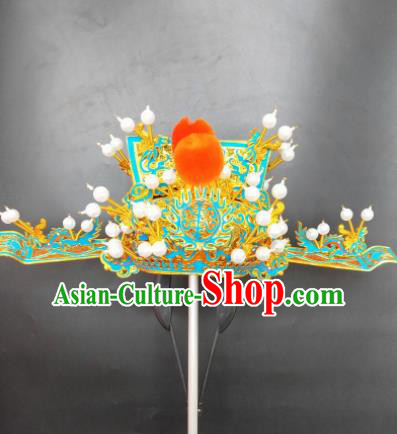 Chinese Beijing Opera Wealth God Hat Traditional Peking Opera Prime Minister Hair Accessories for Men