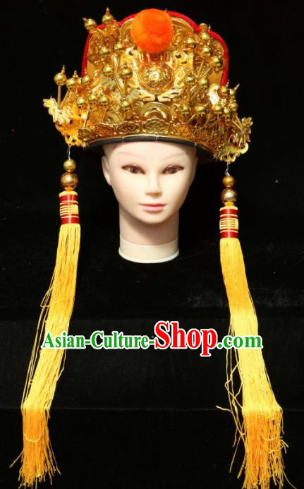 Chinese Beijing Opera Crown Prince Golden Hat Traditional Peking Opera Emperor Hair Accessories for Men