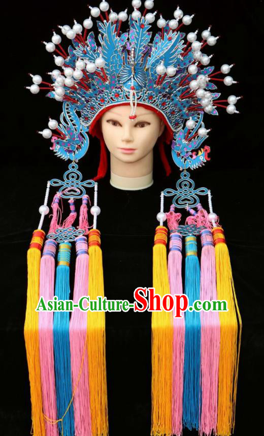 Chinese Beijing Opera Diva Phoenix Coronet Traditional Peking Opera Bride Hat Hair Accessories for Women