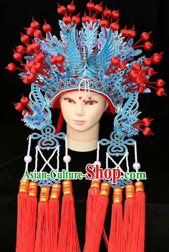 Chinese Beijing Opera Diva Blue Phoenix Coronet Traditional Peking Opera Bride Hat Hair Accessories for Women