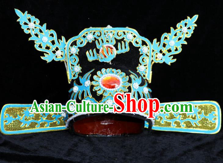 Chinese Beijing Opera Niche Blue Hat Traditional Peking Opera Bridegroom Headwear for Men