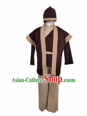 Chinese Ancient Civilian Deep Brown Clothing Traditional Ming Dynasty Farmer Costume for Men