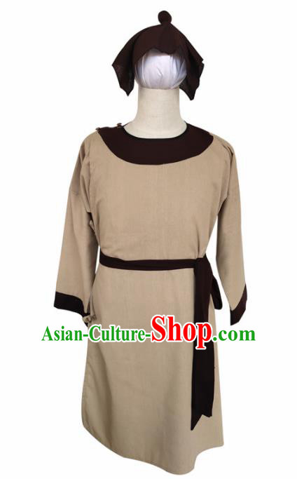 Chinese Ancient Civilian Khaki Robe Traditional Ming Dynasty Teahouse Waiter Costume for Men