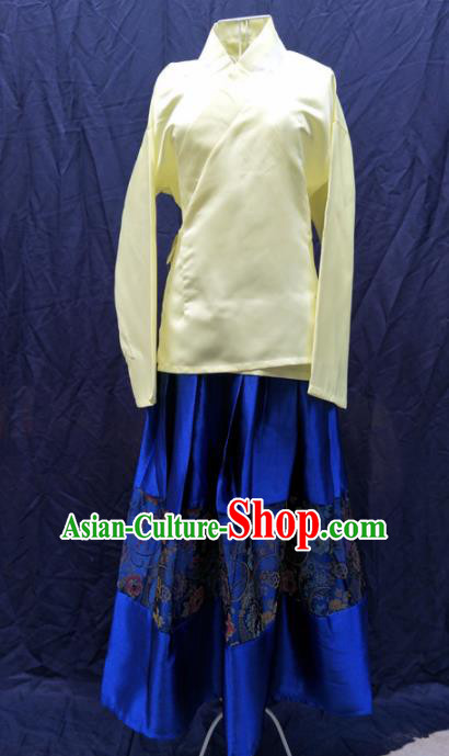 Chinese Ancient Servant Girl Yellow Blouse and Blue Skirt Traditional Ming Dynasty Maidservant Costumes for Women