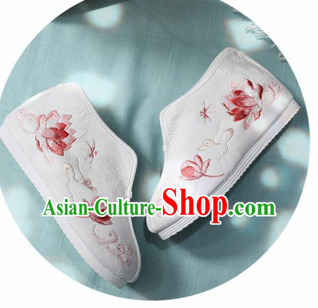 Traditional Chinese Embroidered Red Lotus Boots Handmade Cloth Shoes National Cloth Shoes for Women