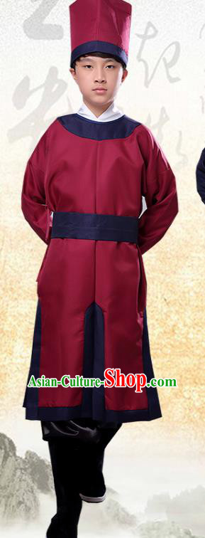 Chinese Ancient Government Manservant Red Clothing Traditional Ming Dynasty Imperial Bodyguard Costume for Men
