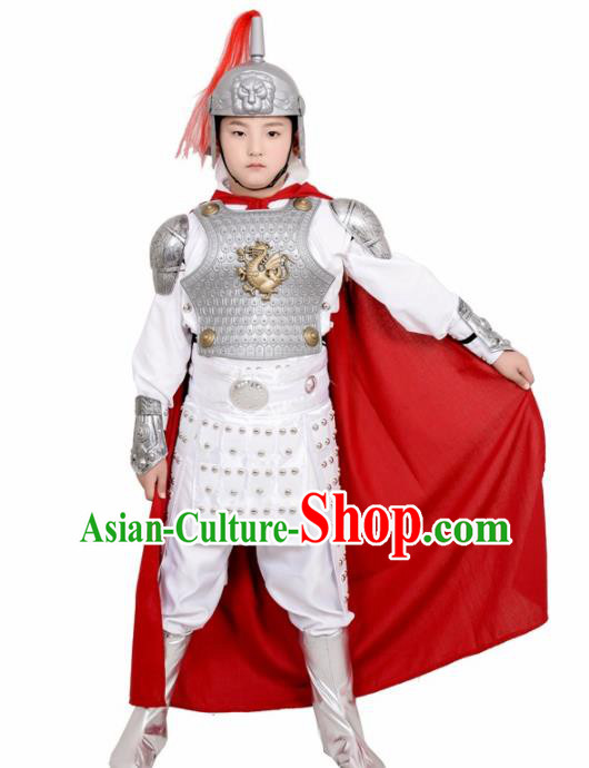 Chinese Ancient General White Helmet and Armour Traditional Han Dynasty Swordsman Costume for Kids