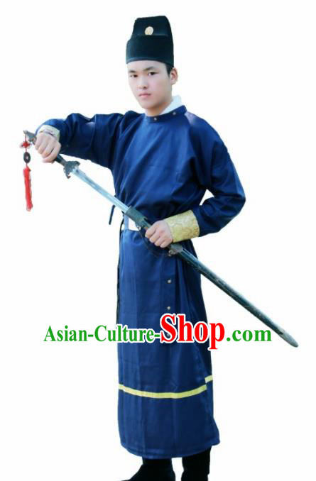 Chinese Ancient Swordsman Blue Clothing Traditional Ming Dynasty Imperial Bodyguard Costume for Men