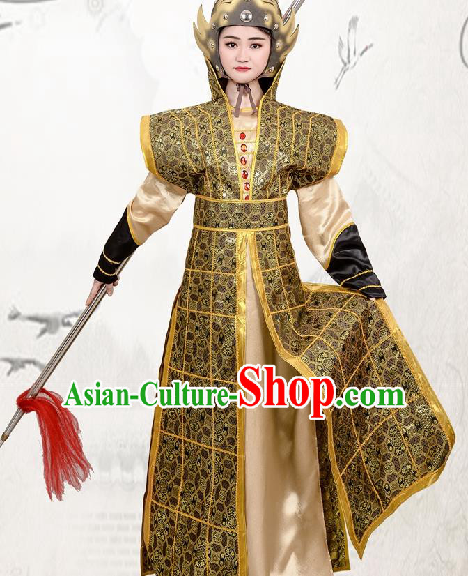 Chinese Ancient Traditional Northern and Southern Dynasties Female General Hua Mulan Costume Helmet and Armour for Women