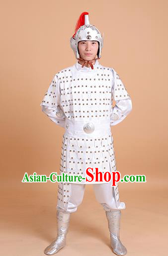 Chinese Ancient Traditional Tang Dynasty General Costume White Helmet and Armour for Men