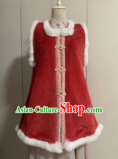Chinese Ancient Traditional Ming Dynasty Court Queen Costume Winter Red Vest for Women