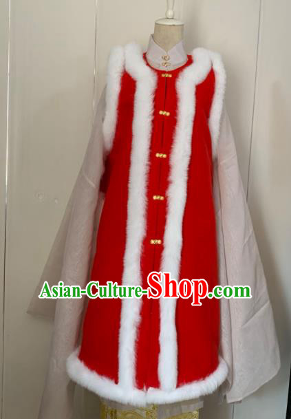 Chinese Ancient Traditional Ming Dynasty Court Queen Costume Winter Red Long Vest for Women