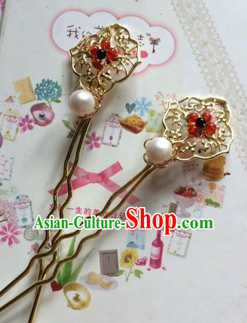Chinese Ancient Princess Golden Hairpins Traditional Court Hair Accessories for Women