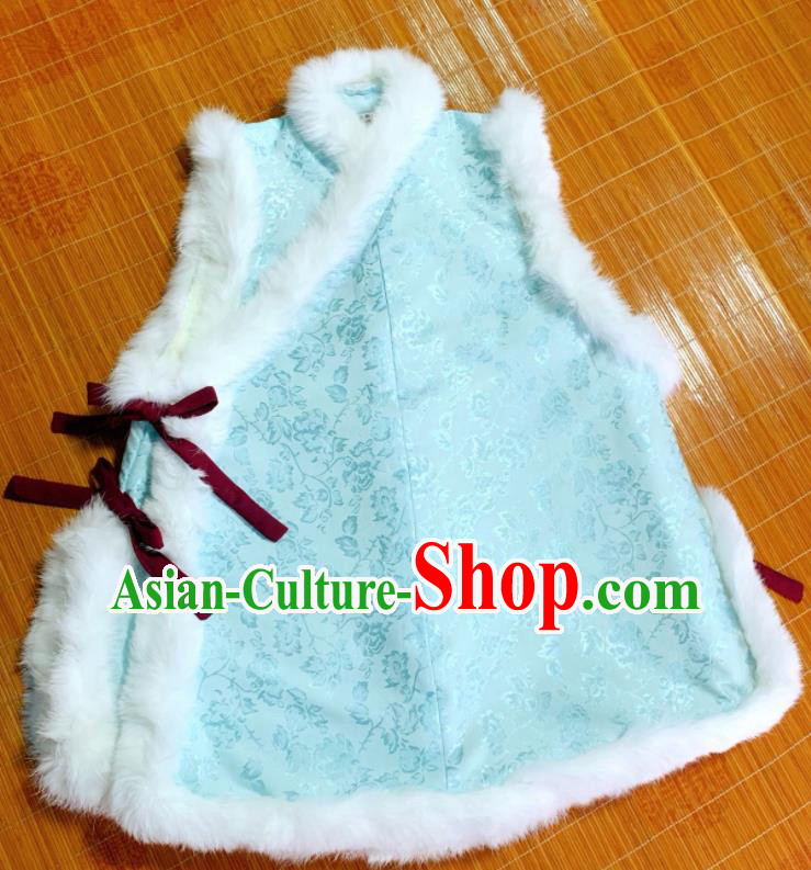 Chinese Ancient Nobility Lady Light Blue Vest Traditional Ming Dynasty Princess Costume for Women