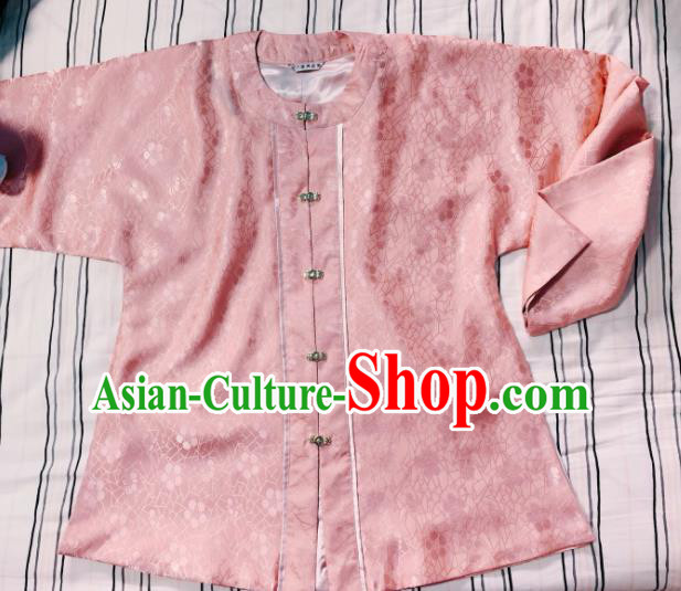 Chinese Ancient Nobility Lady Pink Blouse Traditional Ming Dynasty Princess Costume for Women