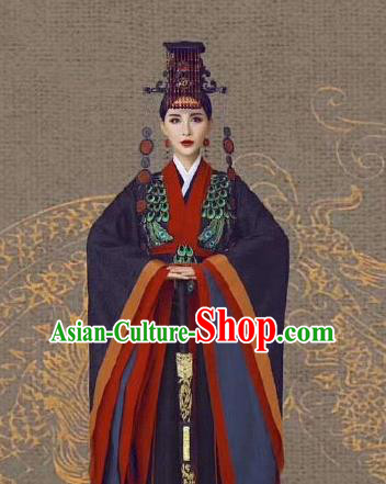 Chinese Ancient Court Queen Mother Black Dress Traditional Qin Dynasty Empress Dowager Costumes and Headpiece for Women