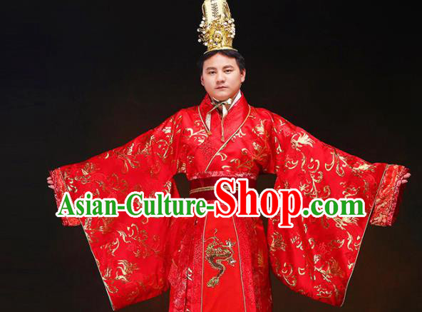 Chinese Ancient Bridegroom Red Hanfu Clothing Traditional Han Dynasty Royal Prince Wedding Costumes and Headpiece for Men