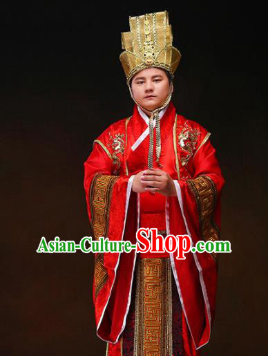 Chinese Ancient Wedding Red Hanfu Clothing Traditional Han Dynasty Bridegroom Costumes and Headpiece for Men