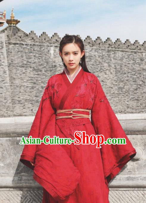 Ancient Chinese Drama Ever Night Traditional Tang Dynasty Taoism Swordsman Ye Hongyu Red Costumes for Women