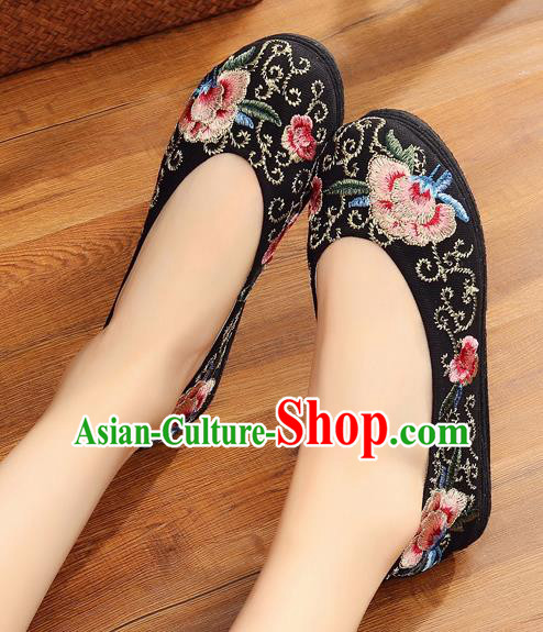 Traditional Chinese Handmade Embroidered Black Shoes Hanfu Shoes National Cloth Shoes for Women