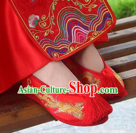 Traditional Chinese Handmade Embroidered Phoenix Red Shoes Hanfu Wedding Shoes National Cloth Shoes for Women