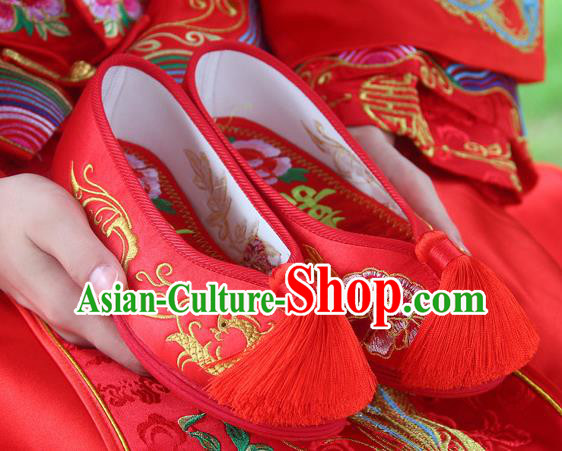 Traditional Chinese Handmade Embroidered Phoenix Peony Red Shoes Hanfu Wedding Shoes National Cloth Shoes for Women
