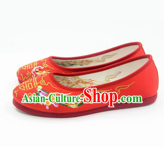 Traditional Chinese Embroidered Dragon Phoenix Red Shoes Handmade Hanfu Wedding Shoes National Cloth Shoes for Women