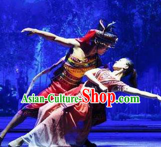 Chinese The Romantic Show of Sanya Stage Performance Ethnic Dance Costumes and Headpiece for Women for Men