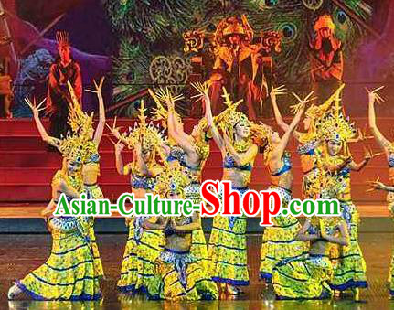 Chinese The Romantic Show of Lijiang Peacock Dance Yellow Dress Stage Performance Costume and Headpiece for Women