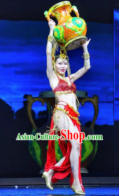 Chinese The Romantic Show of Lijiang Dance Red Dress Stage Performance Costume and Headpiece for Women