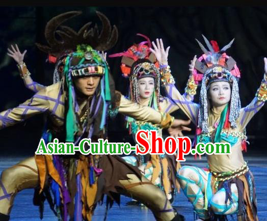 Chinese The Romantic Show of Lijiang Stage Performance Naxi Nationality Dance Costumes for Women for Men