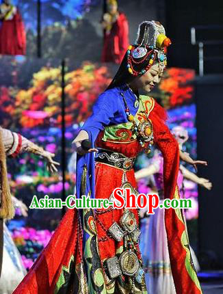 Chinese The Romantic Show of Lijiang Zang Nationality Dance Dress Stage Performance Costume and Headpiece for Women