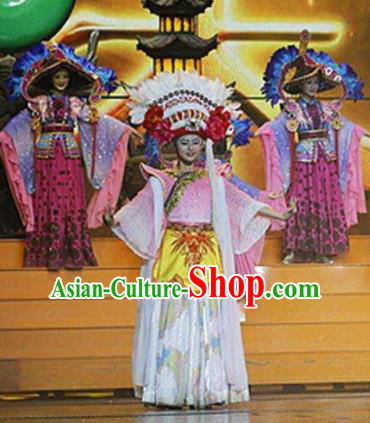 Chinese The Romantic Show of Lijiang Bai Ethnic Nationality Dance Dress Stage Performance Costume and Headpiece for Women