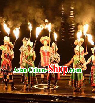 Chinese Impression Shjie Liu Zhuang Ethnic Dance Dress Stage Performance Goddess Costume and Headpiece for Women