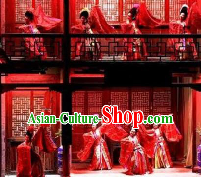Chinese Impression Da Hong Pao Dance Red Dress Stage Performance Goddess Costume and Headpiece for Women