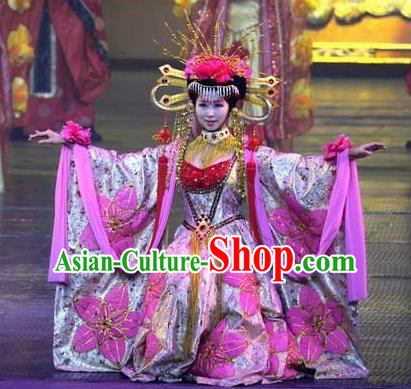 Chinese The Romantic Show of Songcheng Queen Dance Pink Dress Stage Performance Palace Feast Costume and Headpiece for Women