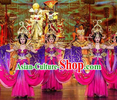 Chinese The Romantic Show of Songcheng Palace Feast Dance Purple Dress Stage Performance Costume and Headpiece for Women