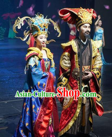 Chinese The Romantic Show of Songcheng Emperor and Empress Stage Show Costumes for Women for Men