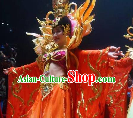 Chinese The Romantic Show of Songcheng Court Feast Dance Dress Stage Performance Costume for Women