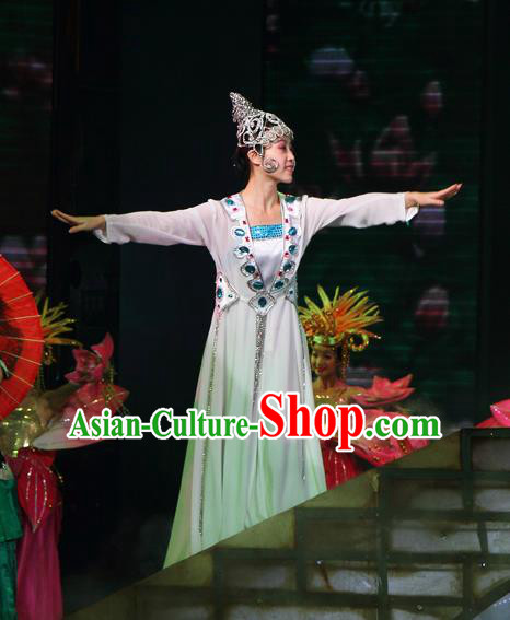 Chinese The Romantic Show of Songcheng West Lake Legend Madam White Snake Dress Stage Performance Costume for Women