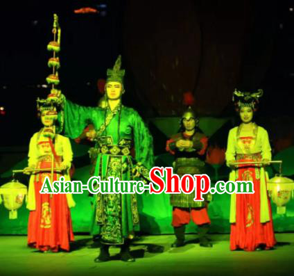 Chinese The Dream of Tang Dynasty Eunuch Gao Lishi Stage Performance Dance Costume for Men